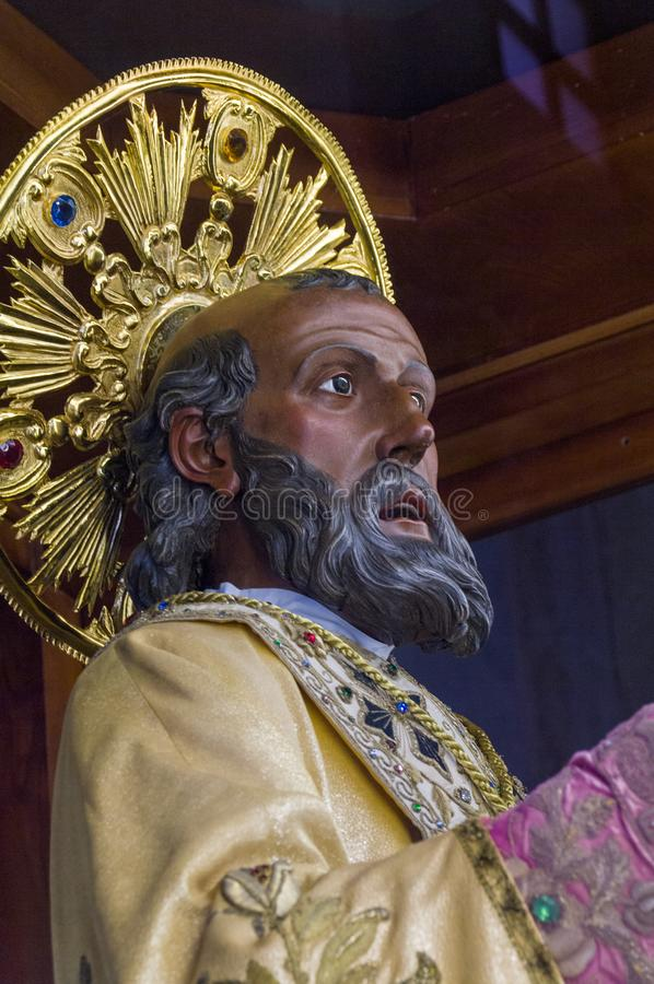 Italy.  Bari. Popular devotion.  The precious wooden simulacrum of St. Nicholas of Bari kept inside the basilica dedicated to him. The devotion to saint royalty free stock photos