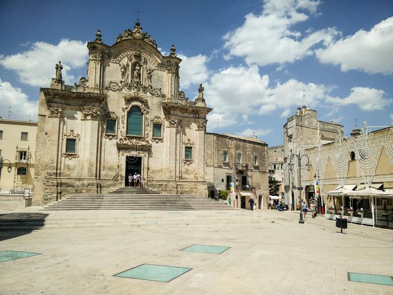 Italy. Basilicata. Matera, UNESCO site and European Culture Capital 2019. Church of San Francesco d'Assisi,  Catholic cult building erected in the 13th royalty free stock image
