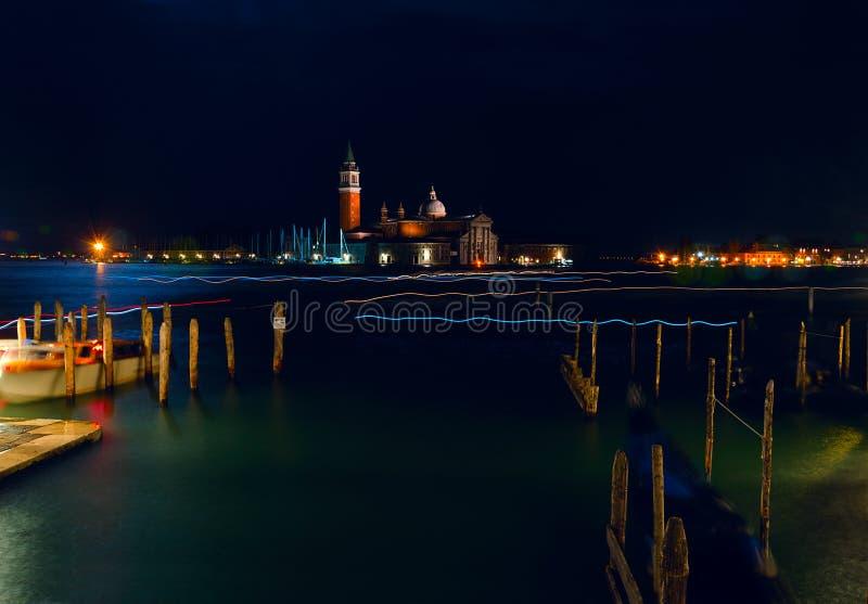 Italy. Beautiful night views of Venice. Venice, night cityscape. Venice night landscape with reflections. royalty free stock photos