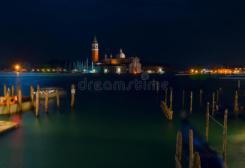 Italy. Beautiful night views of Venice. Venice, night cityscape. Venice night landscape with reflections. royalty free stock photography