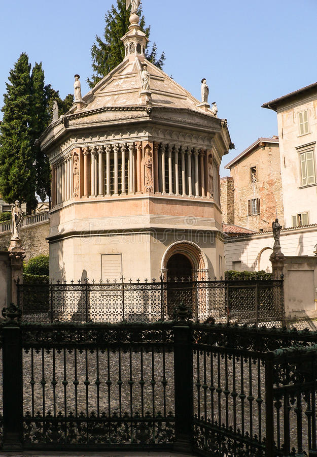 Italy. Bergamo Alta. Baptistery of the Basilica of Santa Maria Maggiore. The small octagonal religious building, in Lombard-Gothic style, was built in 1340 AD stock images