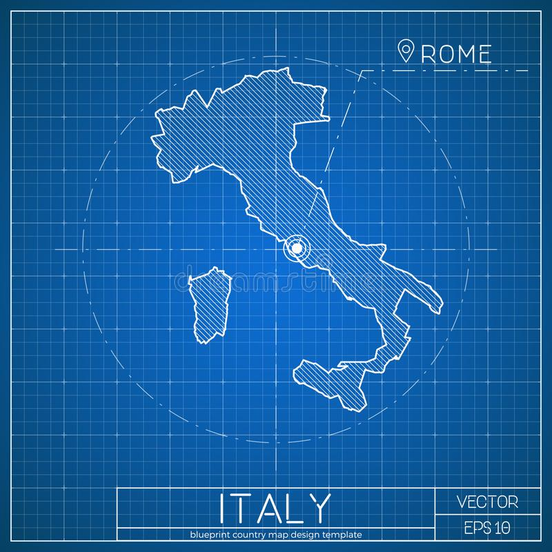 Italy blueprint map template with capital city stock vector download italy blueprint map template with capital city stock vector illustration of document malvernweather Images