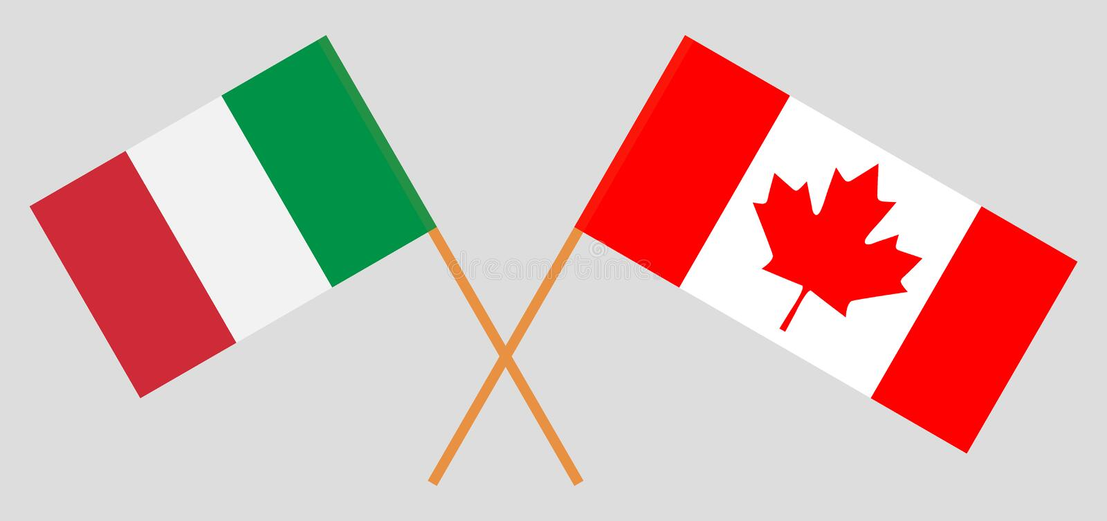 Italy and Canada. The Italian and Canadian flags. Official colors. Correct proportion. Vector royalty free illustration