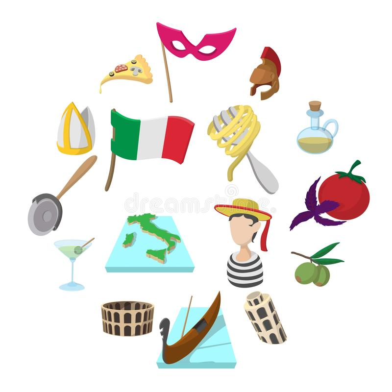 Italy cartoon icons. Set for web and mobile devices stock illustration