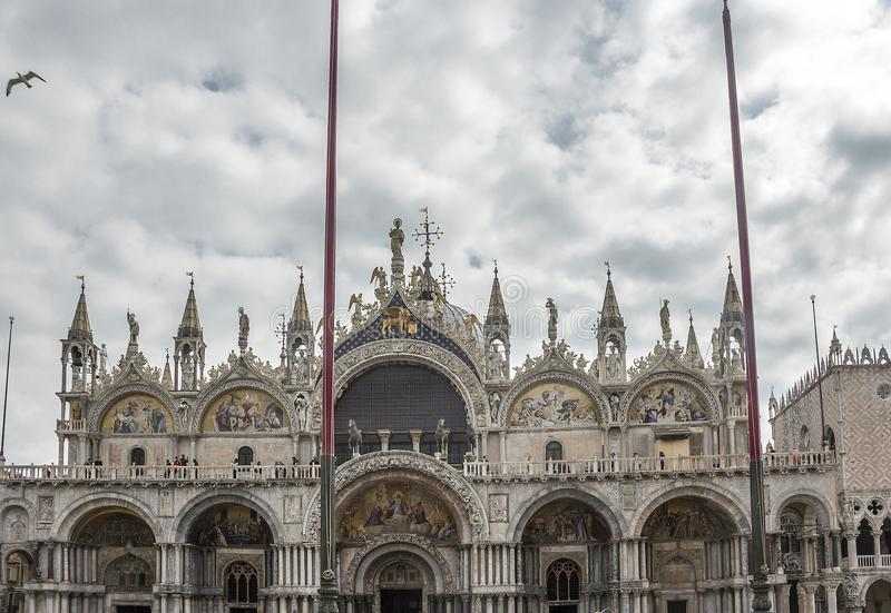 The Cathedral of the Sacred Mark. Italy. The Cathedral of the Sacred Mark - the cathedral of Venice. Located on St. Mark`s Square, next to the Doge`s Palace. It stock image