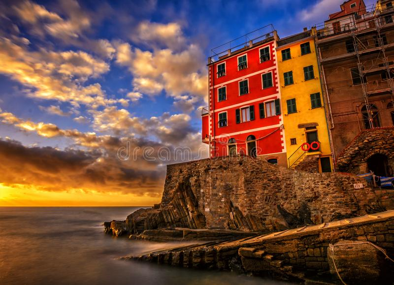 Italy cinque terre manorola by sunset royalty free stock photography