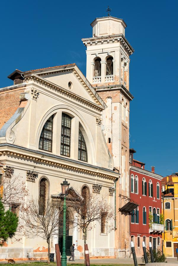 Venice. Church of St. Trovaso. Italy. The cityscape and architecture of Venice. City canal and Church of St. Trovaso royalty free stock photography