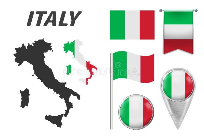 Italy Coleção dos símbolos na bandeira nacional das cores nos vários objetos isolados no fundo branco Bandeira, ponteiro, botão, ilustração royalty free