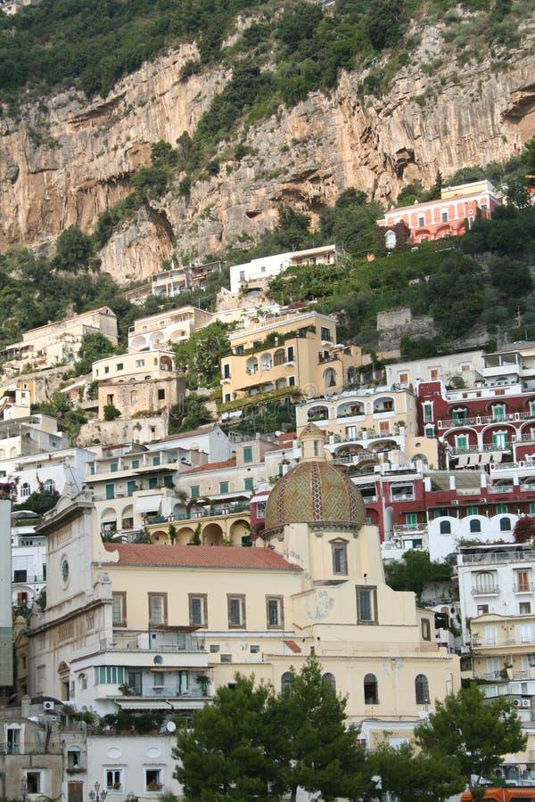 Italy. Costa de Amalfi. Catedral de Positano fotos de stock royalty free
