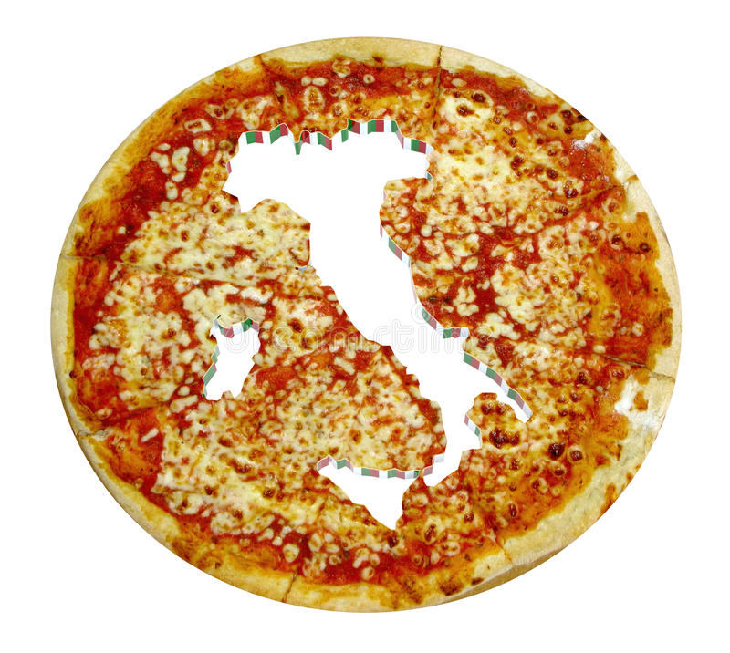 Italy Country Map Cropped On Pizza Stock Image Image