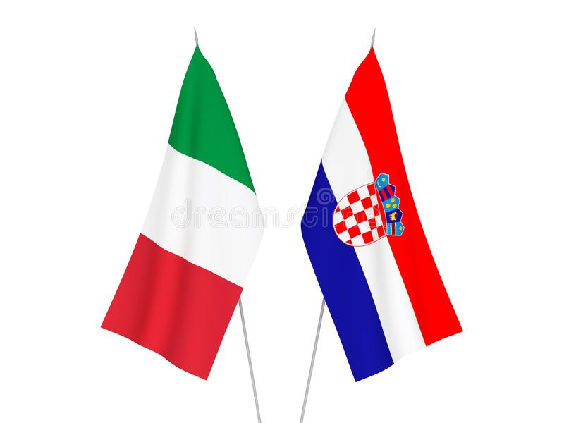 Italy and Croatia flags. National fabric flags of Italy and Croatia isolated on white background. 3d rendering illustration royalty free illustration