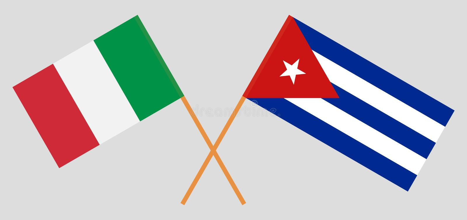 Italy and Cuba. The IItalian and Cuban flags. Official colors. Correct proportion. Vector stock illustration