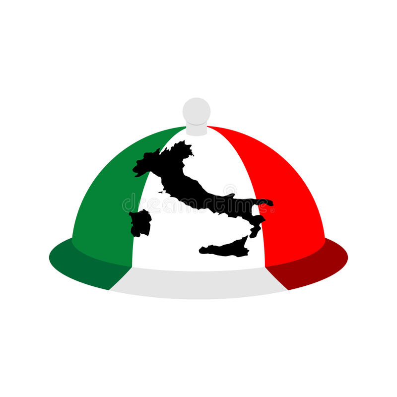 Italy dish tray sign isolated. Food Italian national cuisine log stock illustration