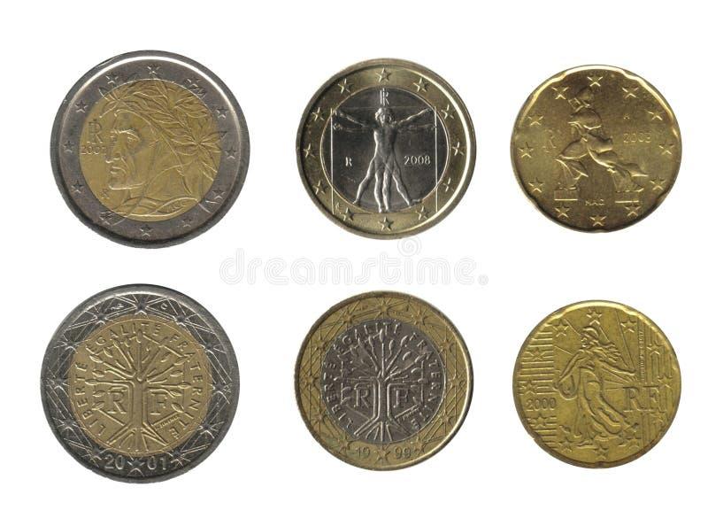 Italy e France, moedas imagem de stock royalty free