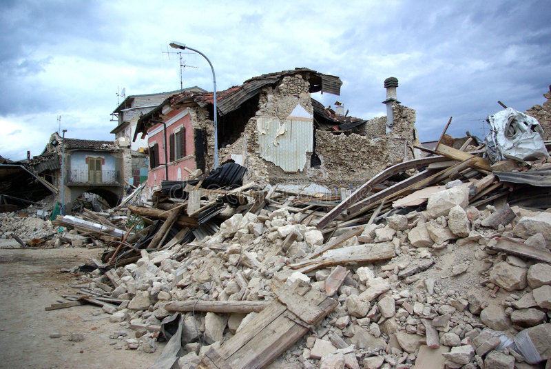 Italy earthquake stock photo