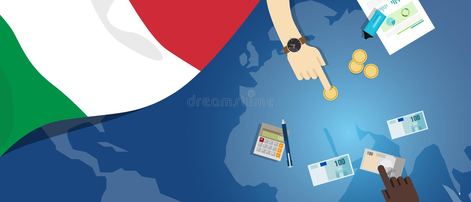 Italy economy fiscal money trade concept illustration of financial banking budget with flag map and currency. Vector vector illustration