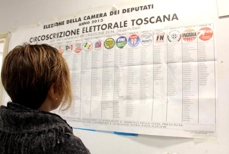 Italy elections ballots stock images