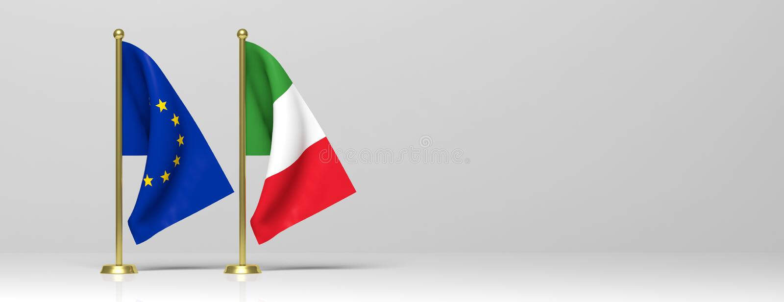 Italy and European Union miniature flags on white background, banner, copy space. 3d illustration. Italy and EU relations, Italexit concept. Italy and European royalty free illustration