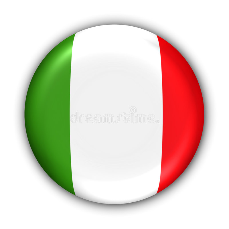 Italy Flag. World Flag Button Series - Europe - Italy (With Clipping Path stock illustration
