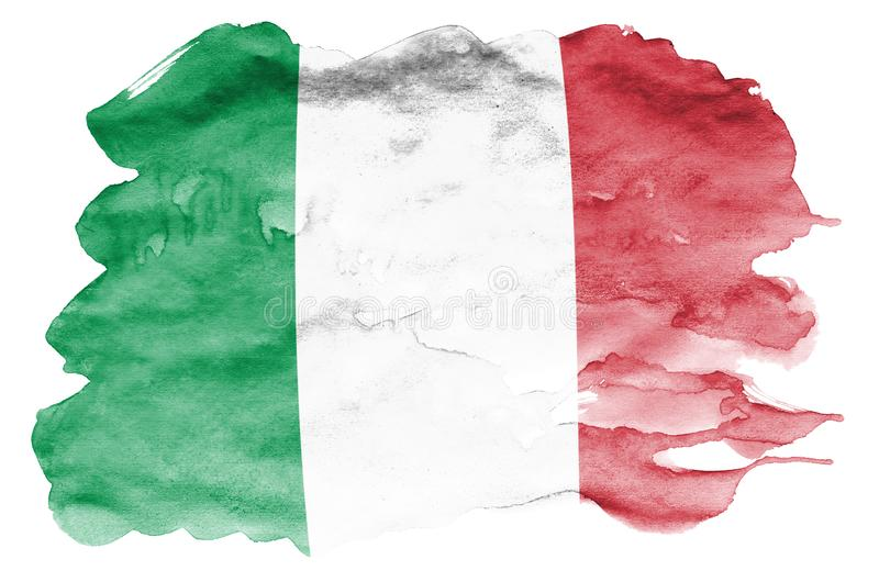 Italy flag is depicted in liquid watercolor style isolated on white background royalty free illustration
