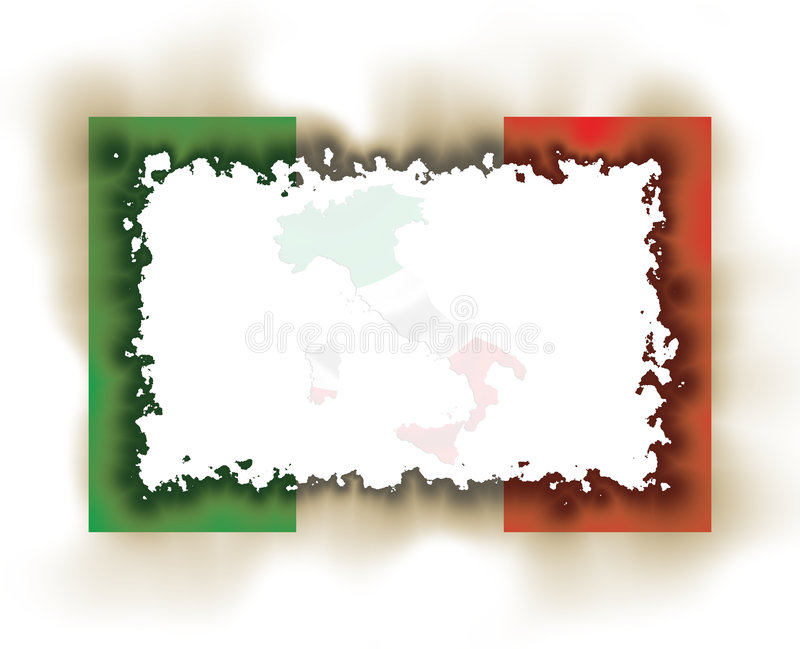 Italy Flag Frame Burnt