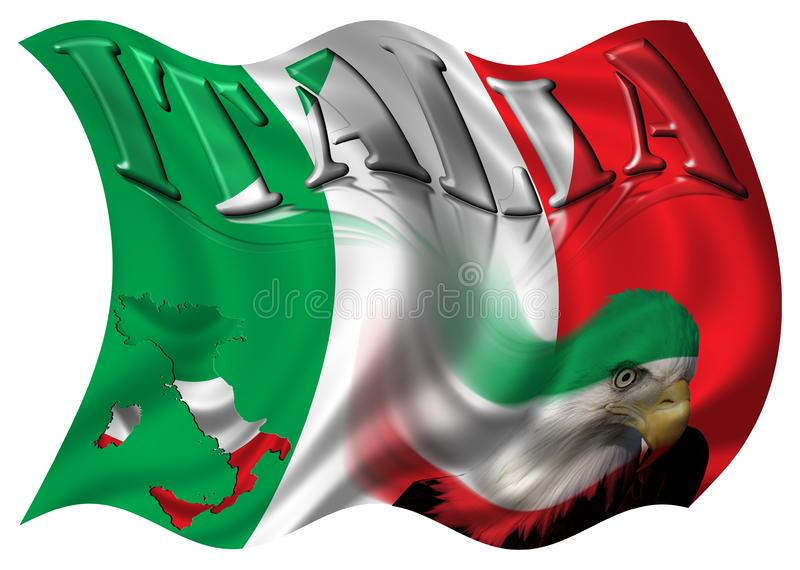 Italy Flag / Map & Eagle stock photo