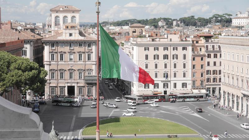 The Italy flag, Rome. The Italy flag in Rome stock images