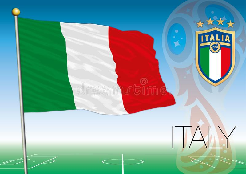 MOSCOW, RUSSIA, june-july 2018 - Russia 2018 World Cup logo and the flag of Italy. Italy flag, Russia 2018 World Cup football, vector file, illustration