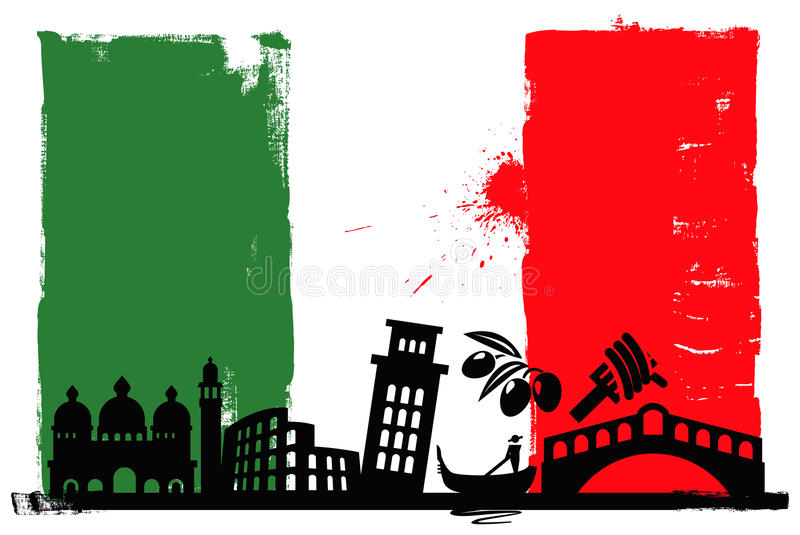 Italy flag and silhouettes stock illustration