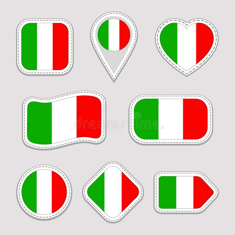 Italy flag vector set. Italian national flags stickers collection. Isolated icons. Traditional colors. Illustration. Web, sports p royalty free illustration