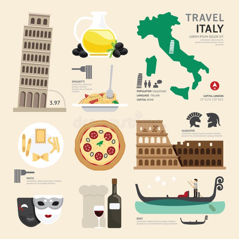 Italy Flat Icons Design Travel Concept. Vector