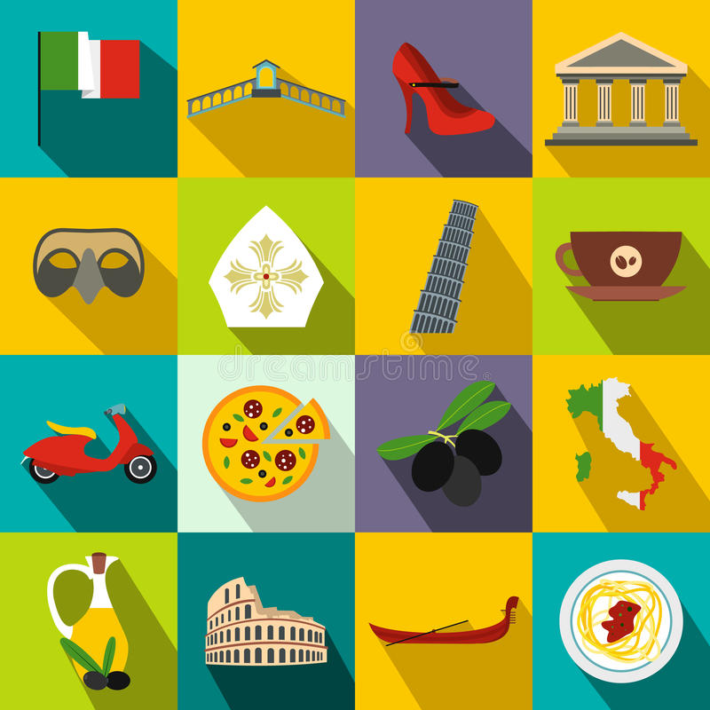 Italy flat icons. Set for web and mobile devices vector illustration