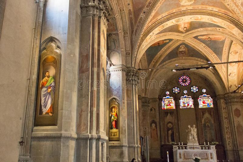 Interior of Gothic Church Orsanmichele in Florence, Tuscany, Italy royalty free stock photo