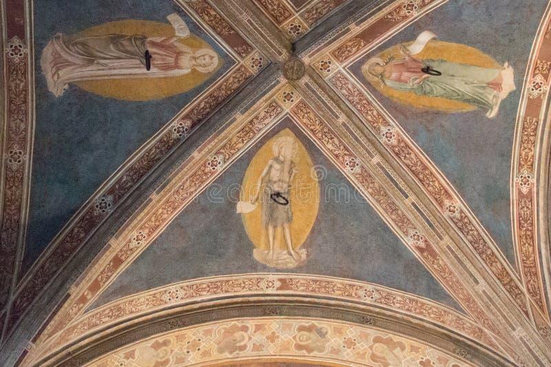 Ceiling fragment of Gothic Church Orsanmichele Florence, Tuscany, Italy stock photo