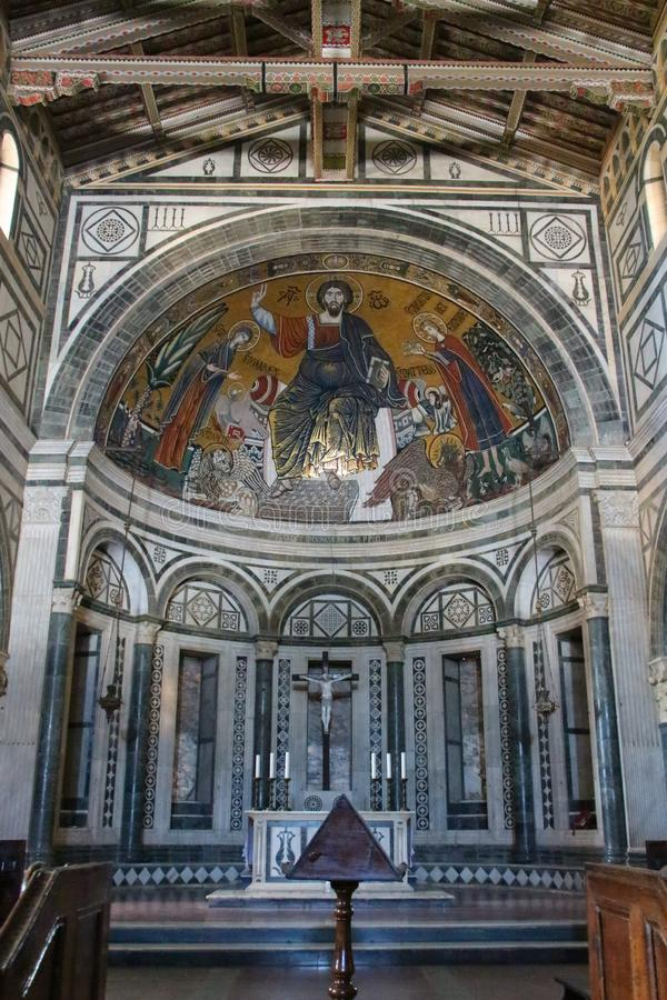 The medieval mosaic of Christ between the Virgin and St Minias in Basilica San Miniato al Monte, Florence, Tuscany, Italy royalty free stock photos