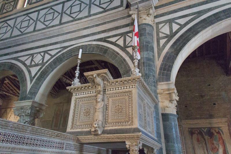 Romanesque pulpit inside Basilica San Miniato al Monte, Florence, Italy stock photos