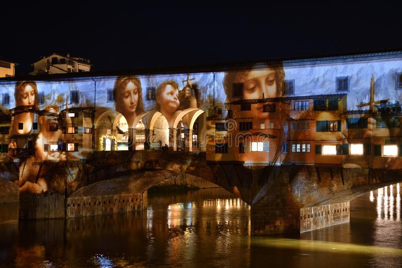 Italy, Florence, December 2018: The famous Ponte Vecchio of Florence illuminated in occasion of F-Light - Festival of Lights royalty free stock image