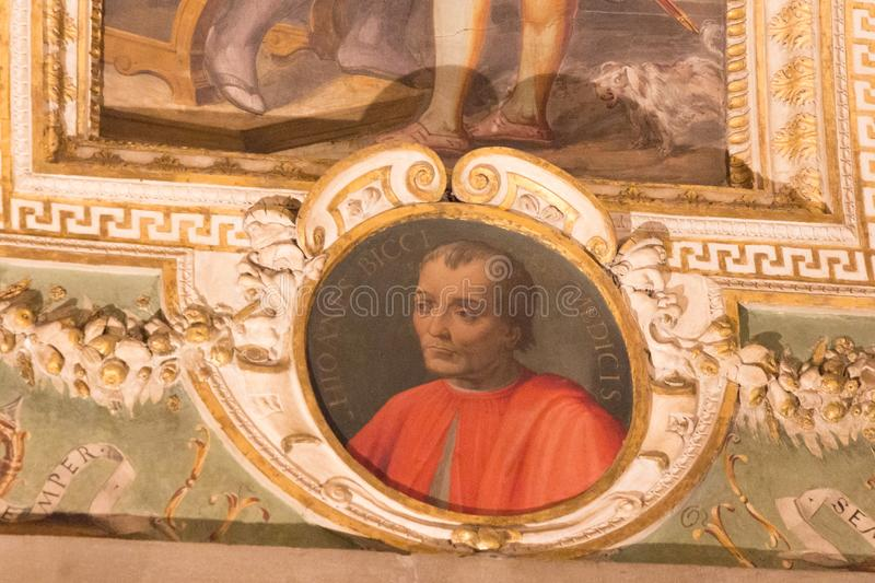Wall paintings of the Sala di Cosimo il Vecchio at medieval Palazzo Vecchio, Florence, Italy. Italy, Florence - May 18 2017: the detailed view of the portrait in stock image