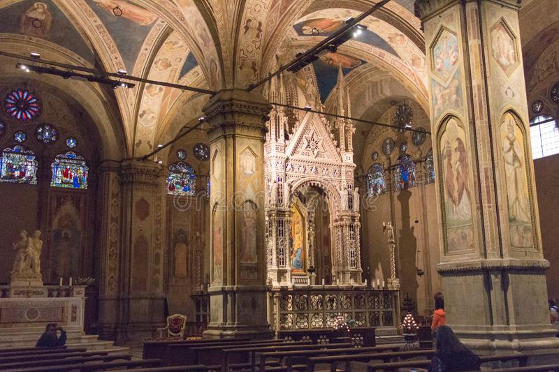 Interior of Orsanmichele Church. Florence, Tuscany, Italy royalty free stock photos