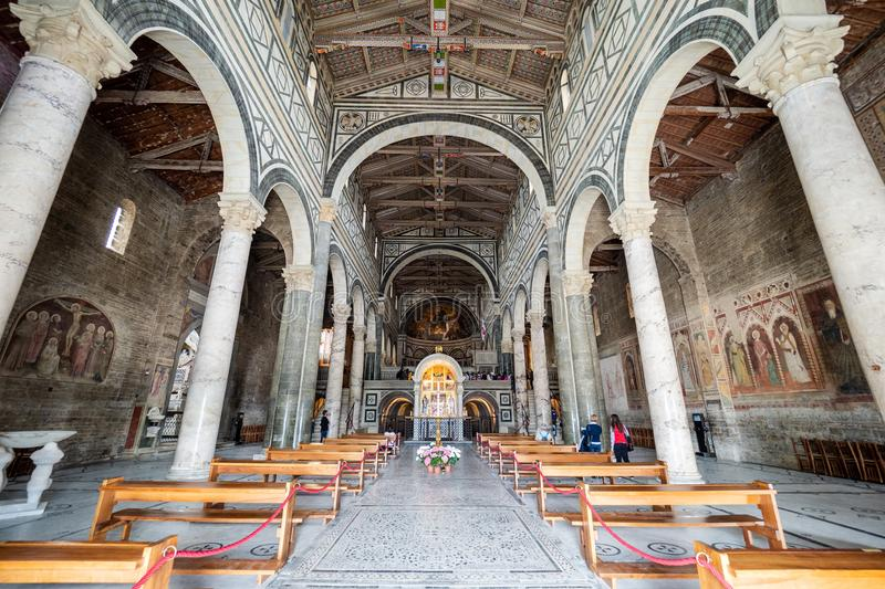 Italy, Florence - May 11 2019, Main aisle of San Miniato al Monte church in Florence stock photography