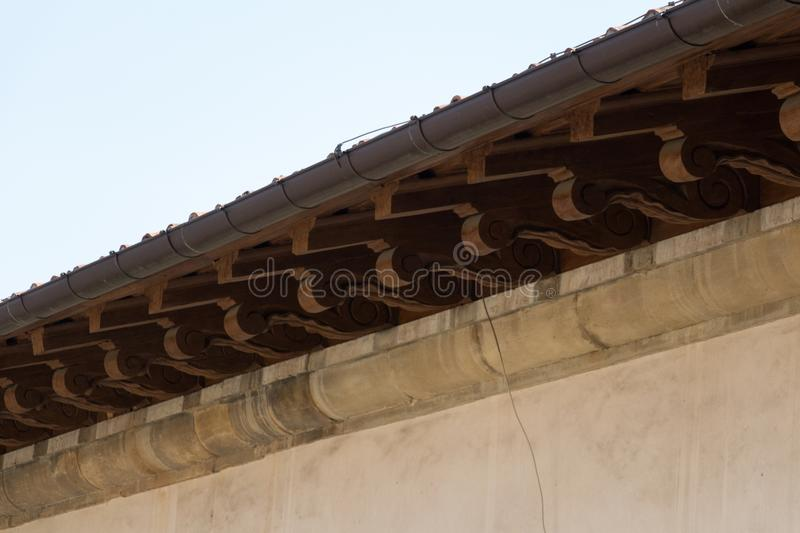 Carved roof fragment, Palazzo Vecchio, Florence, Italy. stock images