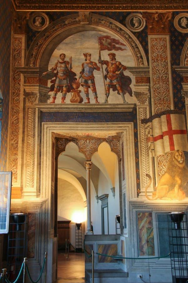 Entrance in Sala della Cancelleria in Palazzo Vecchio, Florence, Tuscany, Italy. stock images