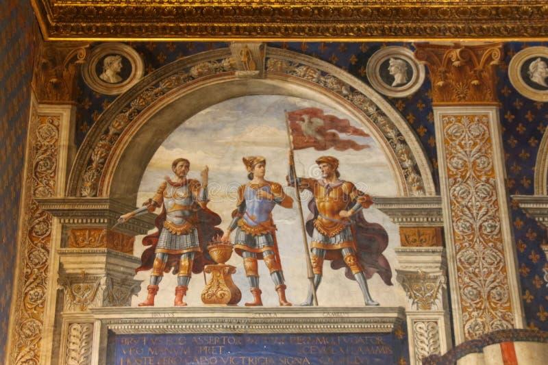 Fresco by Domenico Ghirlandaio in 1482 of Sala dei Gigli in Palazzo Vecchio, Florence, Tuscany, Italy. stock photography