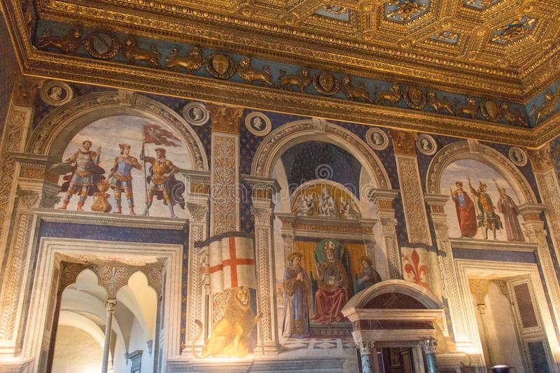 Frescoes by Domenico Ghirlandaio in 1482 of Sala dei Gigli in Palazzo Vecchio, Florence, Tuscany, Italy. royalty free stock photos