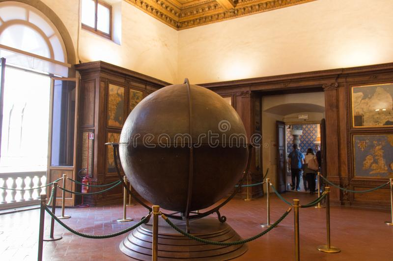 Mappa Mundi in the Hall of geographical maps in Palazzo Vecchio, Florence, Tuscany, Italy. stock photos