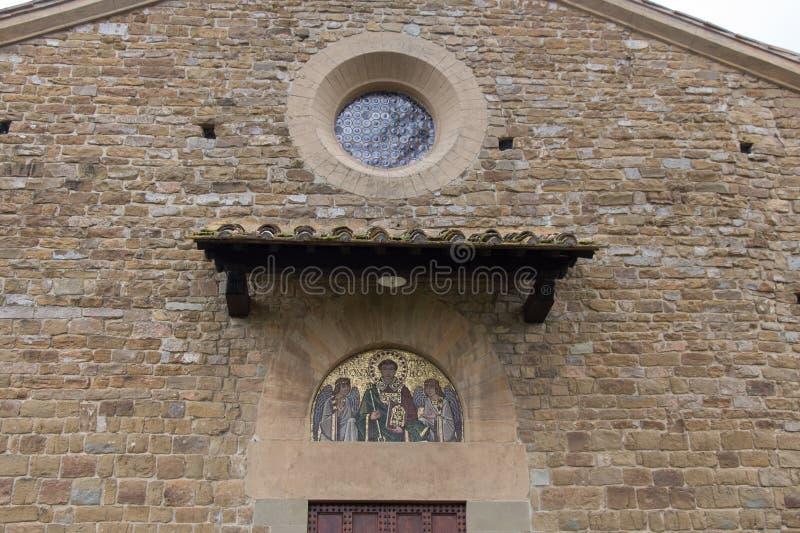 Mosaic above the entrance of Saint Leonardo in Arcetri Church. Florence, Italy stock image