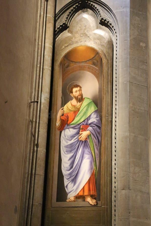 Painting San Bartolomeo by Lorenzo di Credi in Orsanmichele Church. Florence, Italy royalty free stock photo