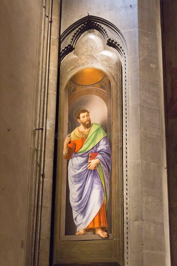 Painting San Bartolomeo by Lorenzo di Credi in Orsanmichele Church. Florence, Italy stock photos