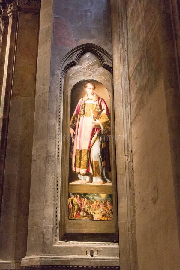 Painting Santo Stefano by Francesco Morandini in Orsanmichele Church. Florence, Italy royalty free stock photos