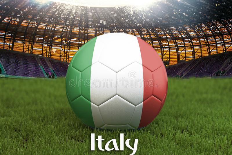 Italy football team ball on big stadium background. Italy Team competition concept. Italy flag on ball team tournament in Italy. S vector illustration